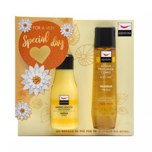 Set Gel de dus Aquolina Vanilla , Femei, 125 ml + Deodorant spray 150ml